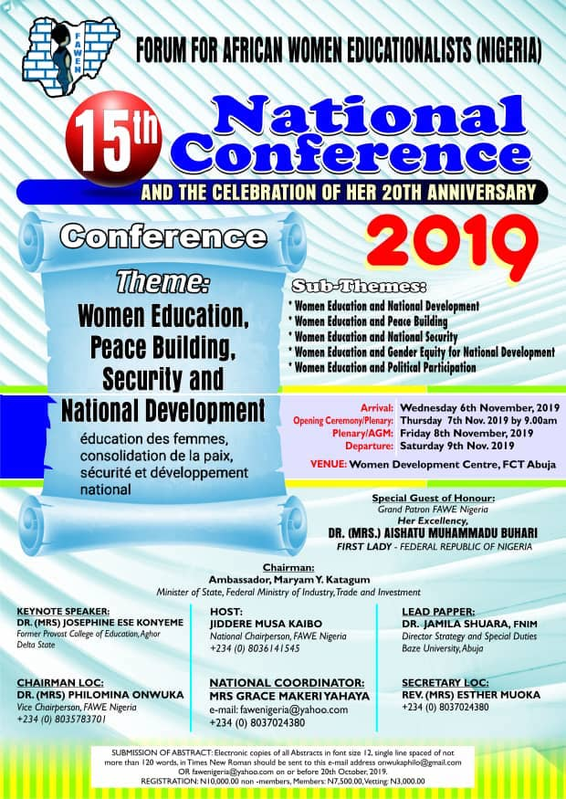 FaweNigeria 15th National Conference 2019 and 20th Anniversary