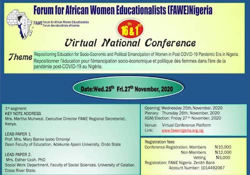 16TH & 1ST VIRTUAL NATIONAL CONFERENCE, FAWEN (2020)